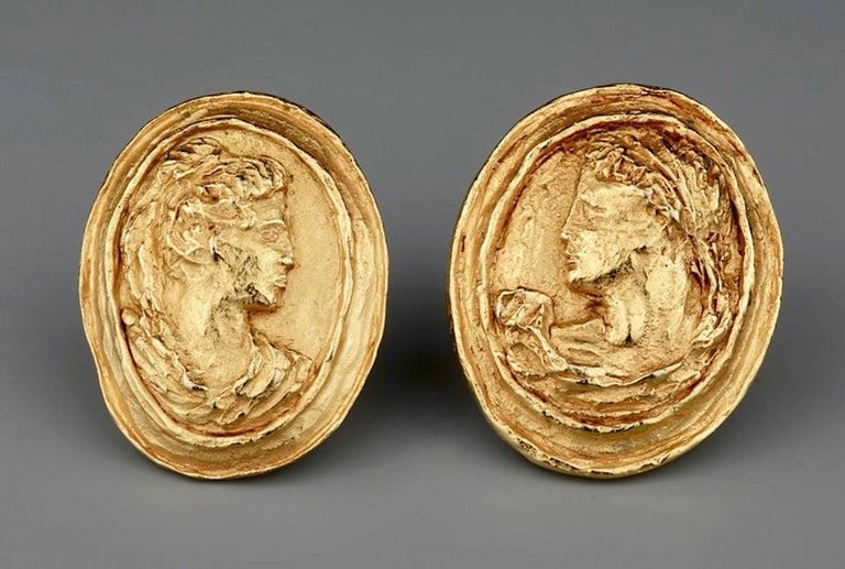 Vintage CHRISTIAN LACROIX Greek Roman Cameo Earrings For Sale 2