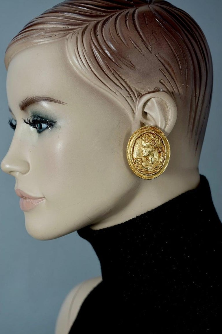 Vintage CHRISTIAN LACROIX Greek Roman Cameo Earrings For Sale 3