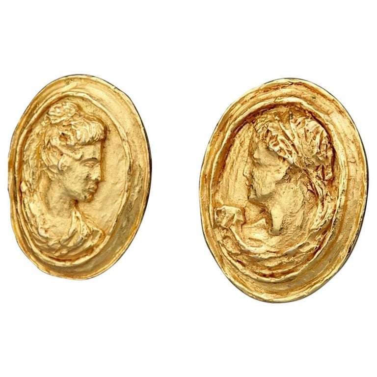 Vintage CHRISTIAN LACROIX Greek Roman Cameo Earrings For Sale
