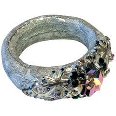 Vintage Christian Lacroix Haute Couture Metallic Silver Bangle Bracelet