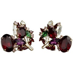 Vintage CHRISTIAN LACROIX Heart Rhinestone Earrings