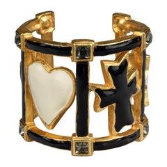 Vintage CHRISTIAN LACROIX Iconic Emblem Enamel Rhinestone Cuff Bracelet