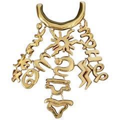 Vintage CHRISTIAN LACROIX Iconic Emblem Plastron Breastplate Choker Necklace