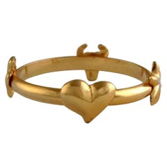 Vintage CHRISTIAN LACROIX Iconic Logo Symbol Bangle Bracelet