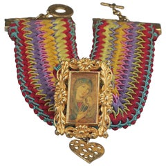 Vintage CHRISTIAN LACROIX Iconic Madonna and Child Religious Art Necklace