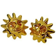 Vintage CHRISTIAN LACROIX Iconic Sun Face Earrings