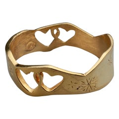 Vintage CHRISTIAN LACROIX Interlocking Heart Cuff Bracelet