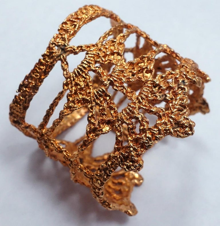 Women's or Men's Vintage Christian LaCroix Intricate Openwork Cuff Bracelet For Sale