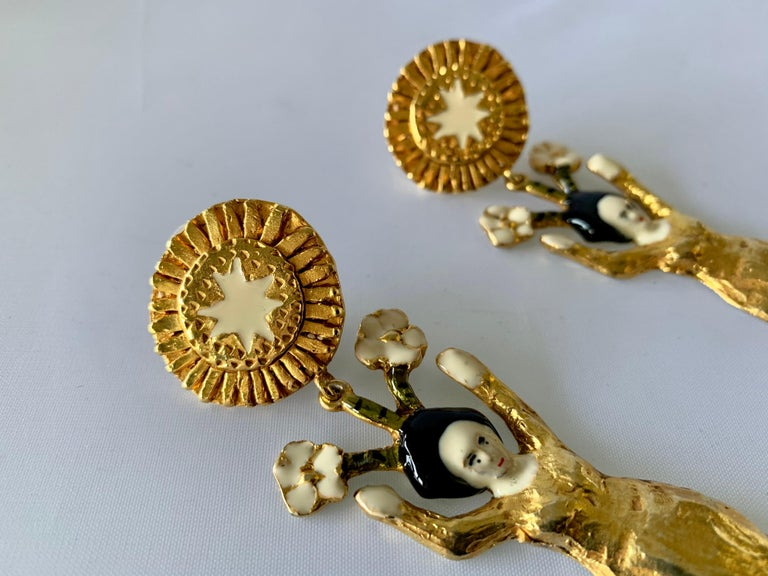 Vintage Christian Lacroix Japanese Geisha Statement Earrings  For Sale 1