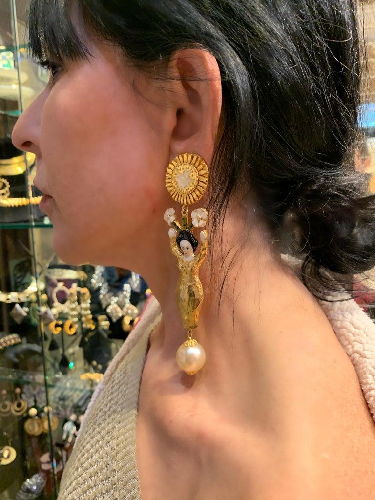 Vintage Christian Lacroix Japanese Geisha Statement Earrings  For Sale 3