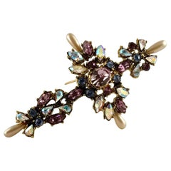 Vintage CHRISTIAN LACROIX Jeweled Cross Brooch