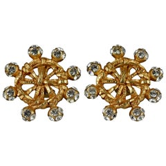 Vintage CHRISTIAN LACROIX Jeweled Nautical Wheel Earrings