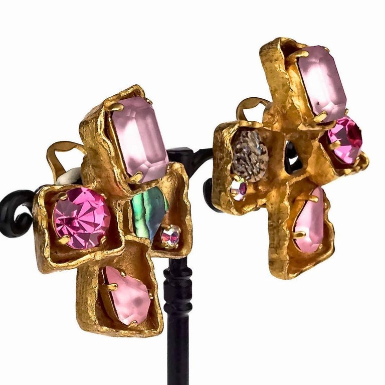 Vintage CHRISTIAN LACROIX Jewelled Cross Earrings For Sale 3
