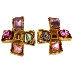 Vintage CHRISTIAN LACROIX Jewelled Cross Earrings