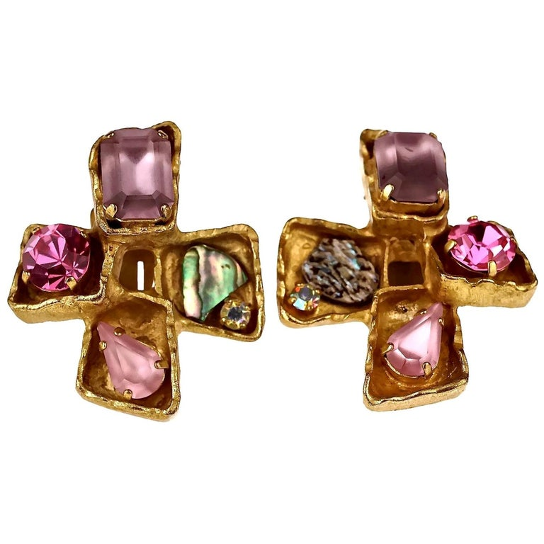 Vintage CHRISTIAN LACROIX Jewelled Cross Earrings For Sale
