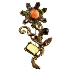 Vintage CHRISTIAN LACROIX Jewelled Flower Brooch