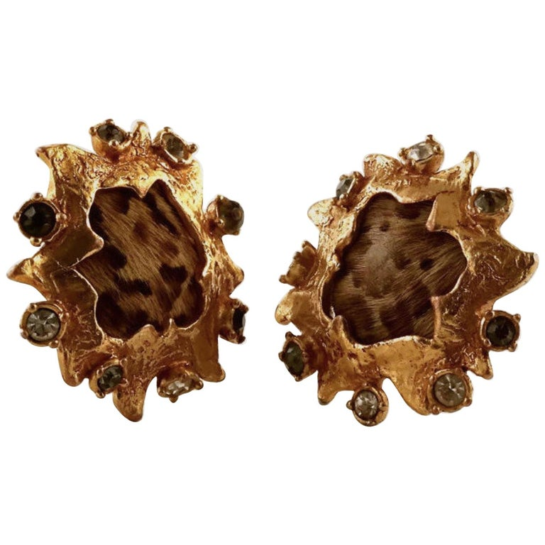 Vintage CHRISTIAN LACROIX Leopard Pony Hair Baroque Earrings For Sale