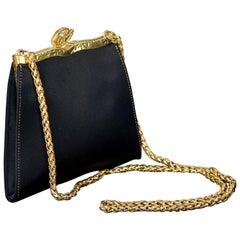 Vintage CHRISTIAN LACROIX Logo Black Satin Chain Shoulder Bag