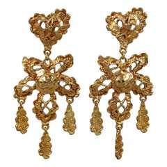 Vintage CHRISTIAN LACROIX Logo Lace Heart Flower Dangling Earrings