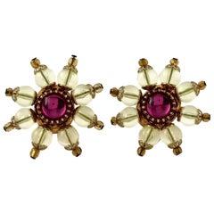 Vintage CHRISTIAN LACROIX Lucite Flower Bead Cabochon Earrings