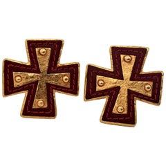 Vintage CHRISTIAN LACROIX Maltese Cross Leather Metal Earrings