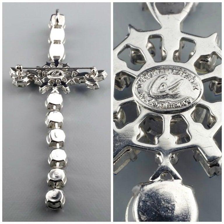 Vintage CHRISTIAN LACROIX Massive Rhinestone Cross Pendant Brooch For Sale 6