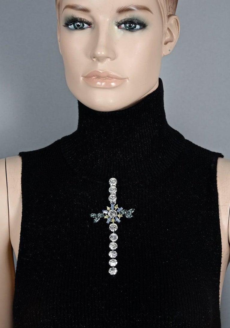 Vintage CHRISTIAN LACROIX Massive Rhinestone Cross Pendant Brooch For Sale 3