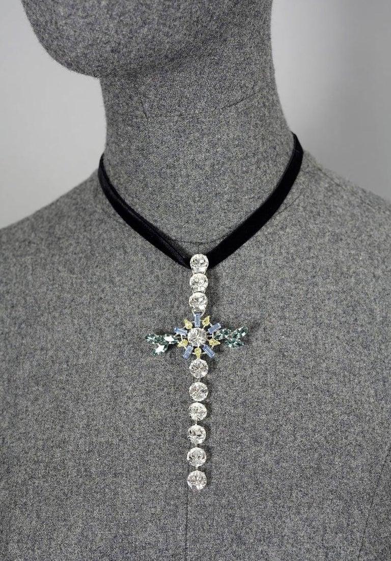 Vintage CHRISTIAN LACROIX Massive Rhinestone Cross Pendant Brooch For Sale 5