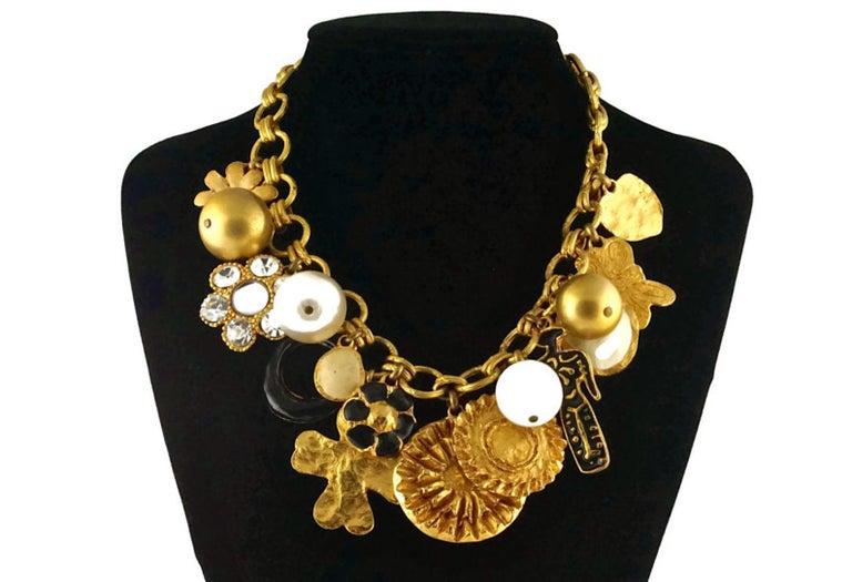 Women's Vintage CHRISTIAN LACROIX Matador Multi Charm Chunky Necklace For Sale