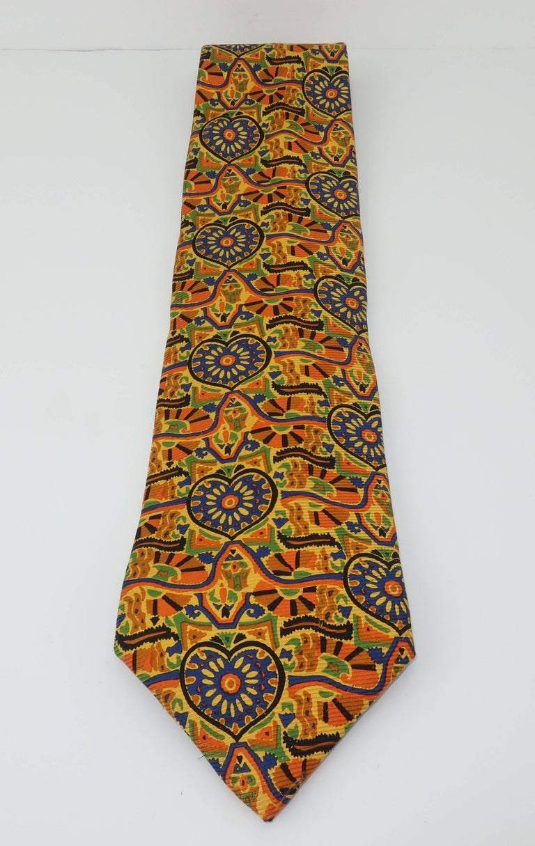 Brown Vintage Christian Lacroix Men's Silk Necktie For Sale