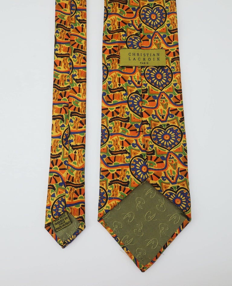 Vintage Christian Lacroix Men's Silk Necktie For Sale 2