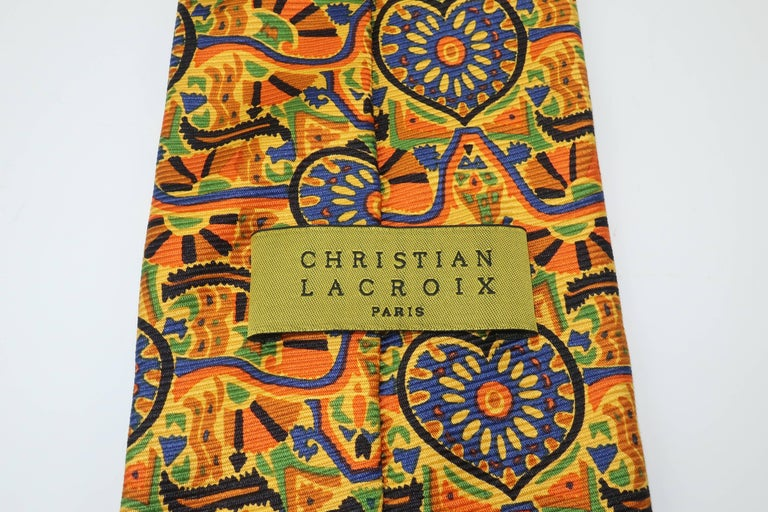 Vintage Christian Lacroix Men's Silk Necktie For Sale 3