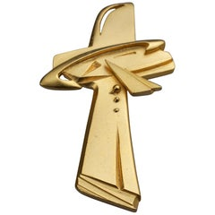 Vintage CHRISTIAN LACROIX Modernist Cross Brooch