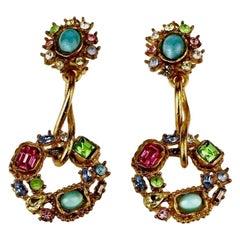 Vintage CHRISTIAN LACROIX Mogul Jeweled Twisted Hoop Drop Earrings