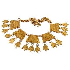 Vintage CHRISTIAN LACROIX Mogul Logo Plate Charms Collar Necklace