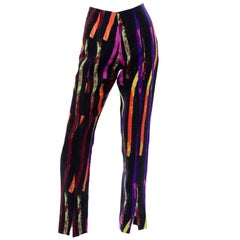 Vintage Christian Lacroix Multi Colored Abstract Neon Strips Print Silk Pants
