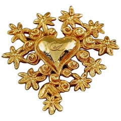 Vintage CHRISTIAN LACROIX NOEL 1993 Logo Heart Flower Limited Edition Brooch