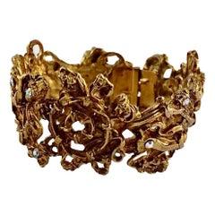 Vintage CHRISTIAN LACROIX Opulent Baroque Rhinestone Cuff Bracelet