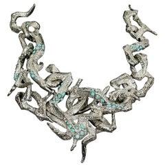 Vintage CHRISTIAN LACROIX Opulent Rigid Turquoise Stone Choker Necklace