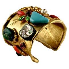 Vintage CHRISTIAN LACROIX Opulent Stone Embellished Cuff Bracelet