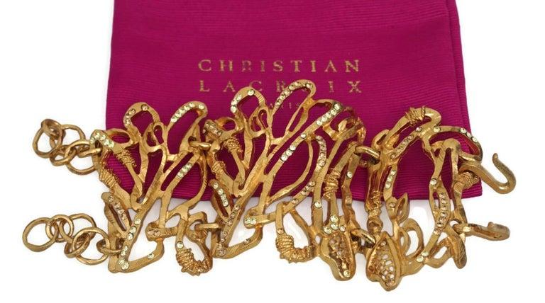 Vintage Christian Lacroix Opulent Wide Rhinestone Bracelet Cuff In Excellent Condition For Sale In Kingersheim, Alsace