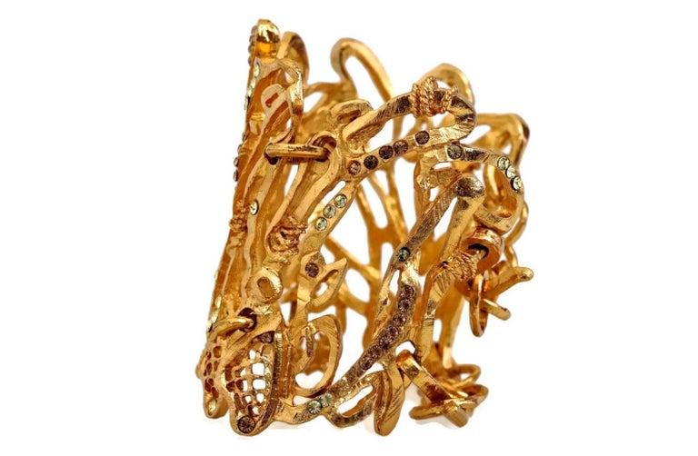 Women's Vintage Christian Lacroix Opulent Wide Rhinestone Bracelet Cuff For Sale