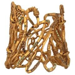 Vintage Christian Lacroix Opulent Wide Rhinestone Bracelet Cuff