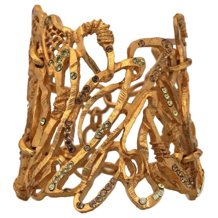 Vintage Christian Lacroix Opulent Wide Rhinestone Bracelet Cuff For Sale