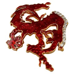Vintage CHRISTIAN LACROIX Red Dragon Iridescent Enamel Rhinestone Brooch