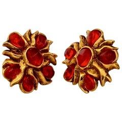 Vintage CHRISTIAN LACROIX Resin Flower Earrings