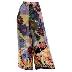 Vintage Christian Lacroix Silk Chiffon Tropical Floral High Waist Wide Leg Pants