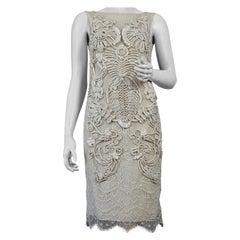 Vintage CHRISTIAN LACROIX Silk Soutache Lace Ecru Dress