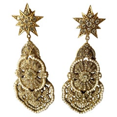 Vintage Christian Lacroix Star Diamante and Pearl Runway Statement Earrings