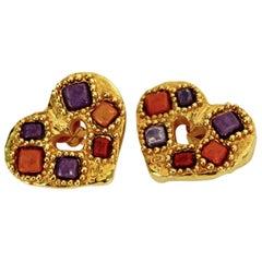 Vintage CHRISTIAN LACROIX Stone Heart Earrings